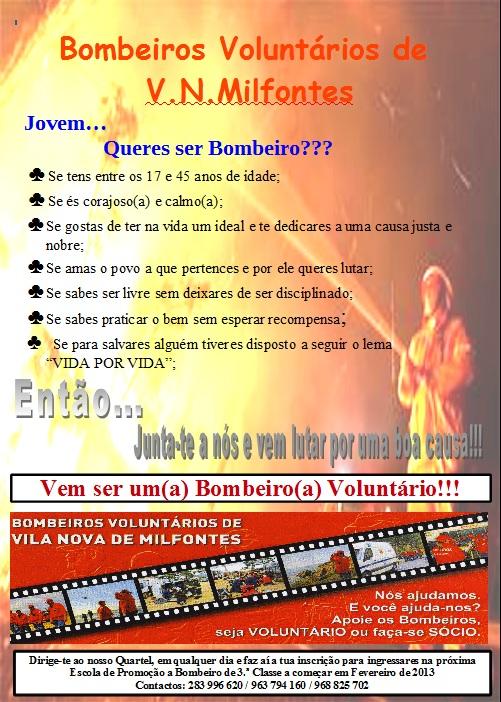 Cartaz de recrutamento bombeiros Milfontes