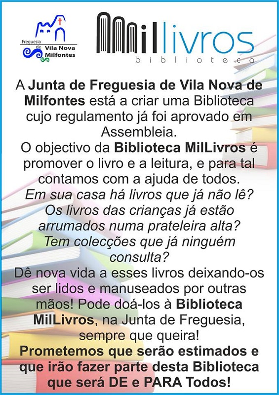 millivros bibiloteca vila nova de  milfontes