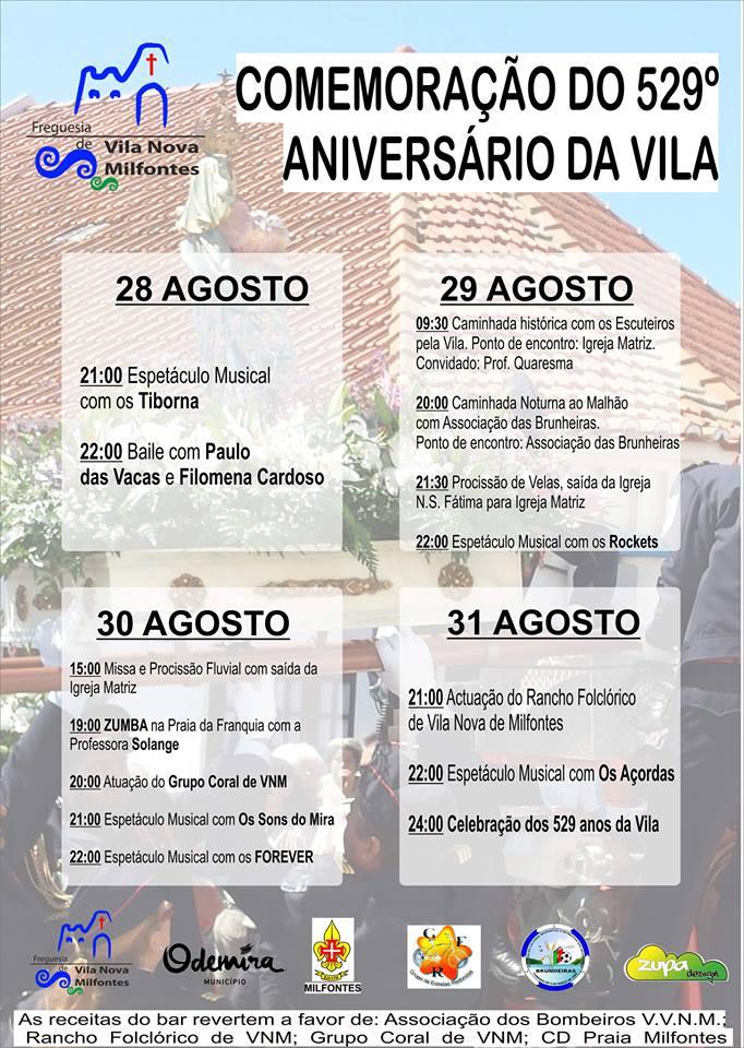 529 aniversario de vila nova de milfontes
